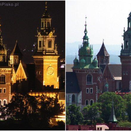 Wawel widziany z Wieży Mariackiej nocą i w ciągu dnia